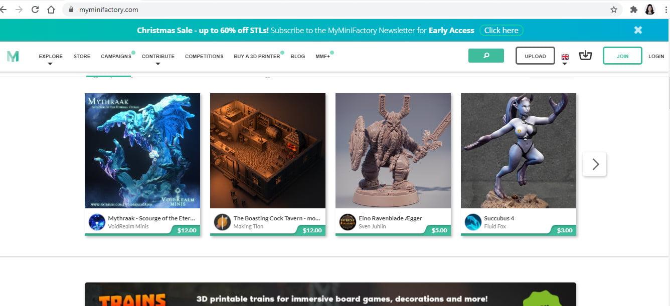 Myminyfactory - có thể tìm file 3D chất lượng cao, cả miễn phí và có phí